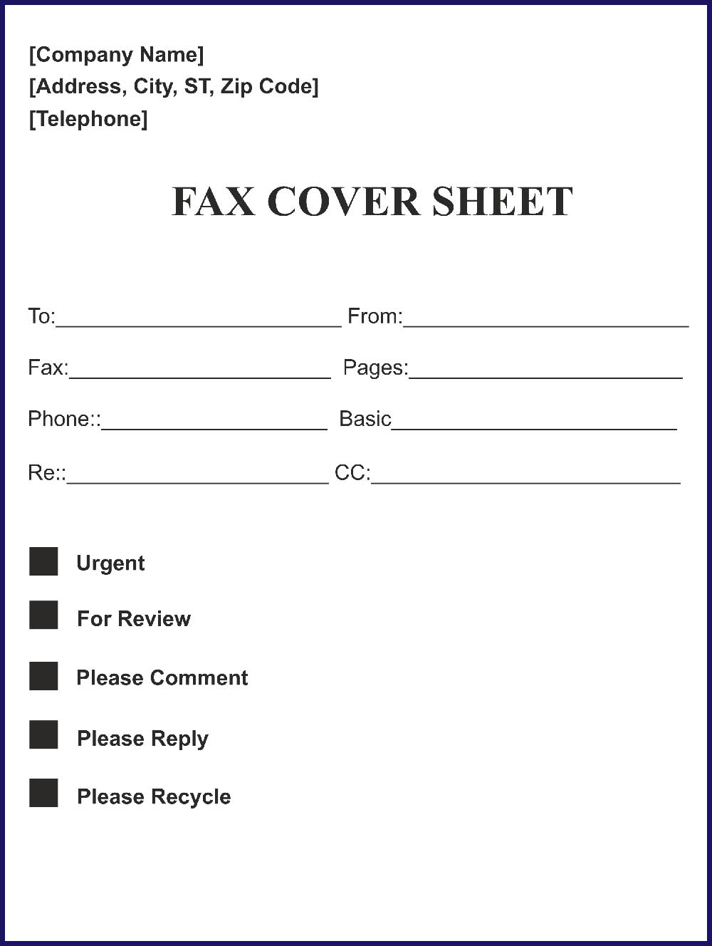 Printable Free Fax Cover Sheet Word Template