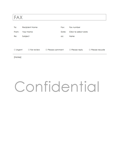 Sample Confidential Fax Cover Letter