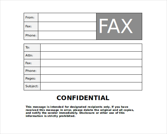 Printable Confidential Fax Cover Sheet Template