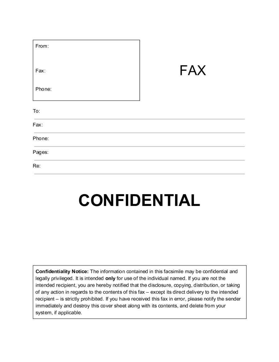 Confidential Fax Cover Letter PDF
