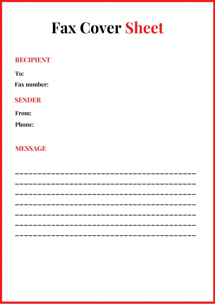 Free Generic Fax Cover Sheet Template