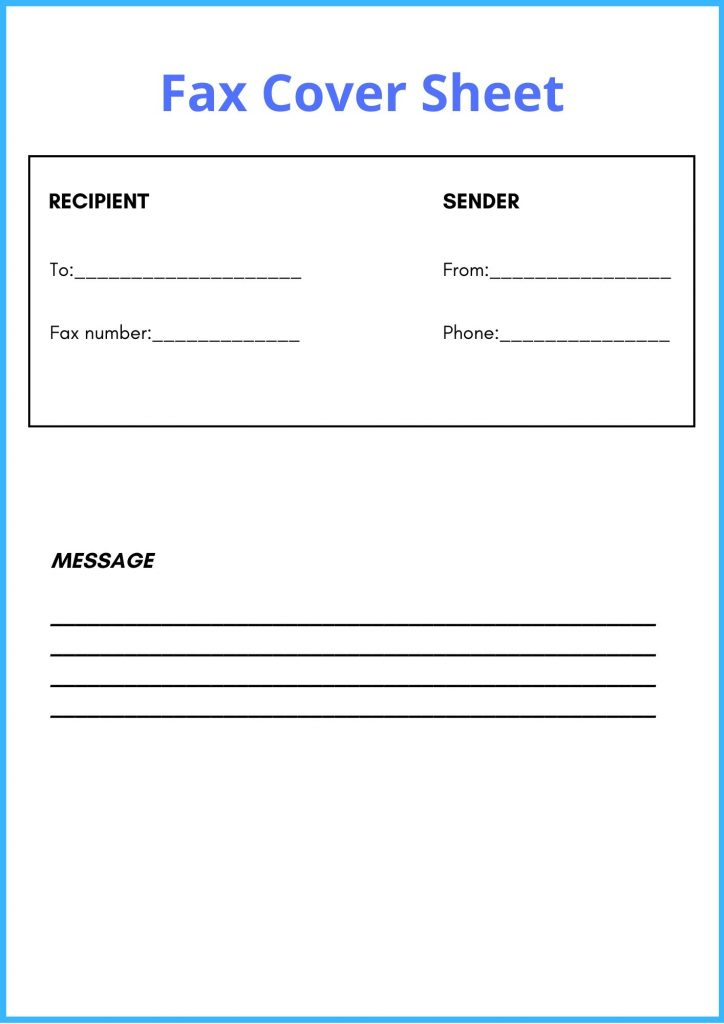 Basic Fax Cover Sheet Template PDF