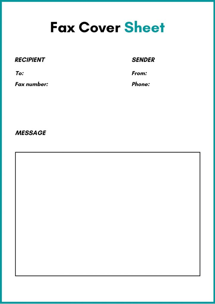 free standard fax cover sheet template pdf